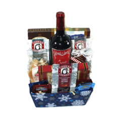 Holiday Red Wine & Chocolate Basket –  Gift#1077